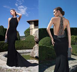 Wholesale Silk Maxi Evening Dress - 2015 High Neck Black Prom Dresses Tarik Ediz New Designer Illusion Back Sleeveless Long Dresses Party Evening Gowns Spandex Maxi Women Dress