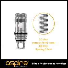Atomiseurs à faible résistance en Ligne-En gros-Véritable Faible Résistance Aspire Triton remplacement RBA atomiseur Bobine avec Triton Coil Head 0.3 / 0.4 / 1.8ohm et RBA Section