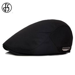 plaques plates noires en gros Promotion Vente en gros-FS unisexe haute qualité béret Cap soleil d'été respirant chapeau pour hommes femmes mode casquettes plates noir cabbie chapeaux 2017