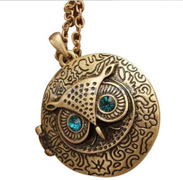 Wholesale Bronze Owl Locket Necklace - Free shipping Antique Bronze Blue Eye Owl Locket Retro Long Necklace Pendant