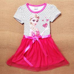 Wholesale Kid Pencil Skirts Dresses - HOT Summer Baby Kid Girls Pure cotton short sleeves dress splicing bowknot Dresses girls Pencil skirt dress
