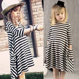 Wholesale Baby Girl Dresses Chevron - Dresses for Girls Children Dresses Chevron Toddler Cotton Baby Girls Striped Dress Long Sleeve Princess Party Dresses Kids Clothes Clothing