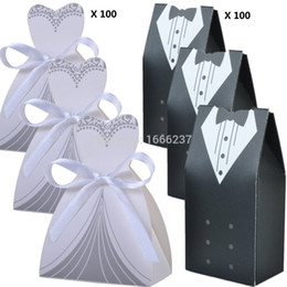Wholesale Recycled Crafts - Wholesale- 200 Pcs 100 Pairs Wedding Decoration Craft Tuxedo and Bridal Gift Boxes HD057