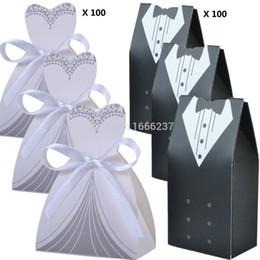 Wholesale Tuxedo Decorations - Wholesale- 200 Pcs 100 Pairs Wedding Decoration Craft Tuxedo and Bridal Gift Boxes HD057