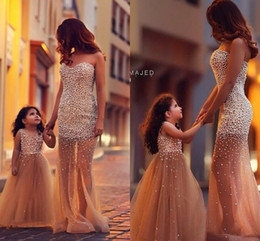 Wholesale Hot Little White Dress - 2016 Hot Sale Fashion Dresses Custom Made Flower Girl Dress Pearl Tulle Little Girl Dresses Princess Gown Mother And Daughter Dresses
