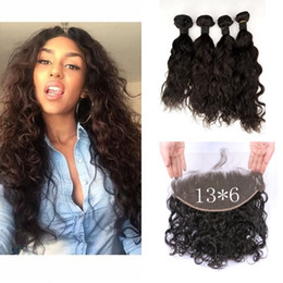 Wholesale Brazilian Knot Hair Extension - Peruvian Virgin Hair Lace Frontal With 4 Bundles Unprocessed Water Wave Human Hair Extensions Fronral Closure Bleached Knots