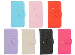 Wholesale Checkered Purse - Fashion Sheep Quilted Diamond Wallet Leather For Galaxy S7  S7 edge Square Checkered Soft Photo Card Slot Money Pocket Flip Cover Purse