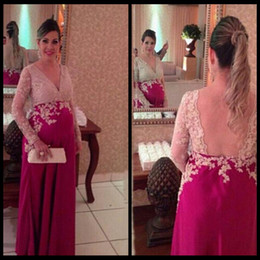 Wholesale Plus Size Evening Fuschia - Champagne Lace Fuschia Long Sleeves Pregnant Maternity Evening Dresses 2015 Formal Evening Gowns robe de soiree abendkleider