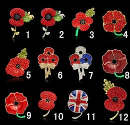 Wholesale Red Poppy Brooch - Royal British Legion brooches Red Crystal Beautiful Stunning Poppy Flower Brooches Pins for Lady Women Fashion Badge Brooch As Princess Kate