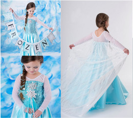 Wholesale Girls Cloting - 1PCS Summer New Style Girls Frozen Dress Elsa Anna Beautiful Dress Patchwork Fashion Princess Dress Children's Cloting 2T,3T,4T,5T,6T-12T
