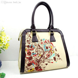Wholesale Men Wallet China - Wholesale-China traditional bucket Fashion Casual messenger big flower National style painting Shoulder Men canvas women shopping Bags