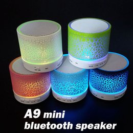 Wholesale Mini Speakers For Android Phone - Mini portable A9 wireless LED shine Bluetooth Speaker with subwoofer stereo for android ios with bluetooth function in retail box