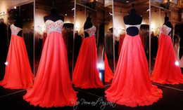 Wholesale Gold Colored Short Dresses - Stunning Coral Strapless Prom Dress Multi Colored Beaded Crystal Party Pageant Gowns Sweetheart Neckline Open Back Chiffon Full Length 2016