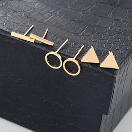 Wholesale Ear Cuff Settings - New Little Gold Color Alloy Geometric Stud Earrings Set for Women Small Round Bar Pendant Ear Cuff Fashion Jewelry