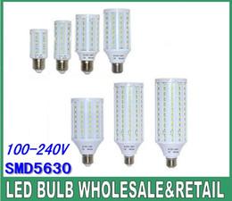 Wholesale E27 165 Led - LED corn lights 24 42 60 84 98 132 165 pcs SMD 5630 LED corn bulb 7W 12W 15W 25W 30W 40W 50W 110V~240V E14 E27 B22 base white warm white