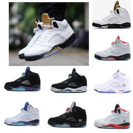 Wholesale Cheapest Blue Suede Shoes - BEST AND CHEAPEST mens Basketball Shoes Cement Black culture OG Black Metallic Silver New air Retro 5 red Suede Fire 5S Sport shoes