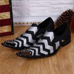 Wholesale Dress Sz 12 - Drop Ship US Size 5-12 New Comfort geniune Leather Metal Tip Formal Dress Suit Shoe Mens Fashion Spikes Party Shoes Sz 11