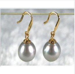 Wholesale Shell Pearls Stud - 2015 new GORGEOUS 10-11MM gray AAA+++ south sea pearl dangle earring 14K Y gold
