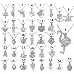 Wholesale Shark Chain - 35 Style Love Wish Pearl Necklace Cages Locket Hollow Out Oyster pearl Pendant Necklace Freshwater Pearl Shark Mermaid Sea Horse DIY jewelry