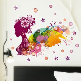 Wholesale Mural Sexy Bedroom - 2017 Colorful Girl Flower Decal Removable Door Room Art Mural Romantic Sexy Lady Forever Flower Wall Sticker