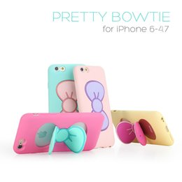 Wholesale Purple Butterfly Iphone Cases - For Apple iPhone 5S 6 6plus 6S 6S Plus Cases Fashion Lovely Girl Candy Cartoon Butterfly Bow Kickstand 1pcs Free Shipping