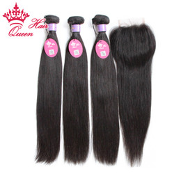 Wholesale Elite Virgin Hair - Malaysian Virgin Hair With Closure Straight Human Hair Weave Lace Closure With Bundles 4Pcs Lot Elites Hair Products With Closure