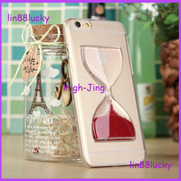 Wholesale Iphone Pattern Glass - Crystal Clear Sand Clock Sand Glass Transparent Flowing Hourglass Pattern Back Cover Phone Case for iPhone4 5 6 4.7inch 5.5inch