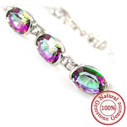 Wholesale Tennis New Ring - Natural Mystic Rainbow Topaz Bracelet Tennis Link Genuine Solid 925 Sterling Silver Fashion Women High Quality 2015 New Hot Sale