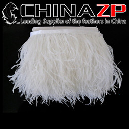 Wholesale white craft feathers - CHINAZP Crafts Factory 10yards lot 10~15cm(4~6inch) in Width Top Quality Bleached White Ostrich Fringe Feather Dress Trim for Party