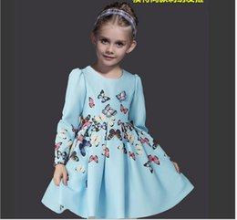 Wholesale Butterfly Tutu Dress Long Sleeve - Retail High Quality Big Girls Dress 2018 Spring Kids Long Sleeve 3D Butterfly Decoration Dresses Children Princess Dress With HairBand