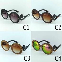 Wholesale Baroque Round Sunglasses - New Baroque Design Sun Glasses For Women Vintage Wood Sunglasses PR27 Brand Same Model WoodGrain Like Made By Plastic Round Frame