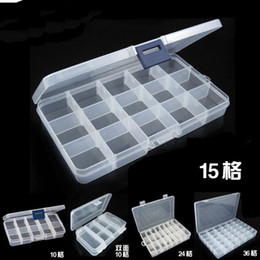 Wholesale Fedex Art - Via Fedex EMS, Empty 15 Compartment Plastic Clear Storage Box For Jewelry Nail Art Container Sundries Organizer, 120PCS