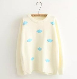 Wholesale Fresh Sweater - Wholesale- Small fresh clouds patch o-neck long sleeve sweater pullover women winter autumn mori girl