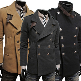 Wholesale wool sash - 2015 New Fashion men Trench coat Korean The new fashion double-breasted Men's cloth coat @3375