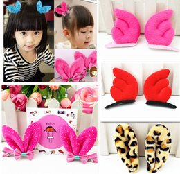 Wholesale Baby Hair Clips Leopard - 2015 Children Hair Accessories Cute Korean Style Rabbit Ears Dots Leopard Baby Girls Hair Barrettes Clip Kids Headbands Child Accessory M411