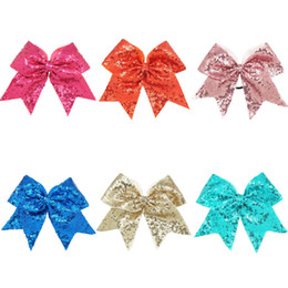 "Wholesale Blue Cheer Bows - Wholesale- Hot Design 8"" Large Sequin Cheer Bows With Elastic Bands Boutique Girls Ribbon Cheer Bow With Full Sequin Bling Hair Accessories"