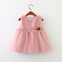 Wholesale Kids Princess Dress Fur - Girls Flower Dresses 2018 Baby Girls Faux Fur Lace Dress Kids Girl Princess Pearl Dress Kids Winter Clothing