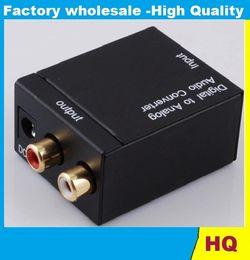 Wholesale Coax Coaxial - Good Digital Optical Coax Coaxial Toslink to Analog RCA L R Audio Converter Adapter 60pcs DHL FREE