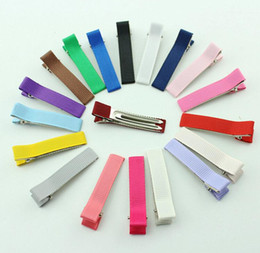 Wholesale Alligator For Kids - wholesale price Alligator Hair Clips for Girls Headwear Single Prong Ribbon Grosgrain Hairpins Kids Hair Band Accessories 20 colors
