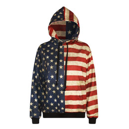 Wholesale Women Winter Coats Usa - w1208 Alisister men women winter sweatshirt 3d print USA flag pullovers stars pattern outwear coat harajuku retro Jersey sportswear