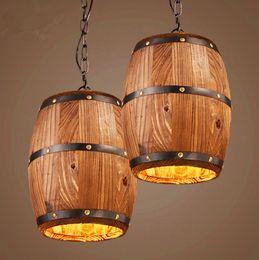 Wholesale Wine Bar Wood - American country loft wood Wine barrel hanging Fixture ceiling pendant lamp E27 light for bar cafe living dining room restaurant