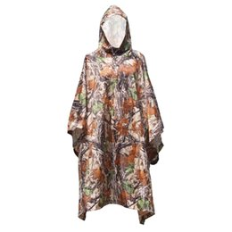 Wholesale Outdoor Backpack Raincoat - 3 in 1 Outdoor Military Travel Camouflage Raincoat Poncho Backpack Rain Cover Waterproof Tent Mat Awning Mountaineering Climbing Y0978