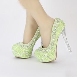 zapatos de vestir amarillos Rebajas Cómodos zapatos nupciales, zapatos de boda de perlas verdes, banquetes hechos a mano, plataformas de baile, zapatos de vestir formales, mujeres azul amarillo