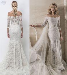 Wholesale Three Quarter Sleeve Lace Dress - elegant fit and flare mermaid wedding dresses 2018 lihi hod bridal three quarter sleeves off the shoulder full embellishment