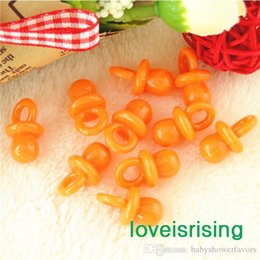 Wholesale Pacifier Baby Shower Favor - New Arrivals--200pcs 22mm*11mm Mini Acrylic Solid Orange Baby Pacifier Baby Shower Favors~Cute Charms ~cupcake decorating