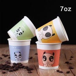 Wholesale Panda Papers - 7oz Cartoon Panda Color Paper Coffee Cup Eco Friendly Disposable Paper Milk Tea Party Drink Cup Promotion 100pcs lot SK812
