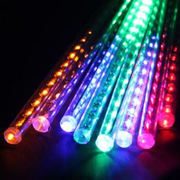 Wholesale decorative led tube lighting - Wholesale- 8 Tube 30CM 144 LED Multi-color Meteor Shower Rain Lights String Waterproof LED outdoor decorative garden meteor shower lamp