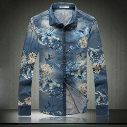 Wholesale Mens Denim Dress Shirt - New Men Denim Shirts 2015 Spring Brand Casual Floral Printed Mens Dress Shirts Men Slim Fit Long Sleeve Jeans Shirts Blue Xxxxl
