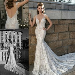 Wholesale Plunging Neckline Mermaid Wedding Dresses - 2018 Berta Sexy Backless Pearls Full Lace Mermaid Wedding Dresses Plunging Neckline Sweep Train Bridal Gowns Arabic Wedding Gowns BA1909