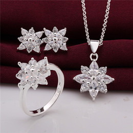 Wholesale Zircon Necklace Sets - 925 Sterling Silver Jewelry Set beautiful flower pendant necklace & earrings & rings with Zircon Christmas send his wife   girlfriend gift